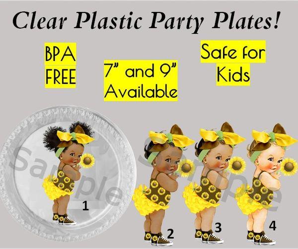 """Sunflower Baby Girl Baby Girl Plastic Party Plates, 7"""" Dessert Plates, 9"""" Dinner Plates, Set of 6"""