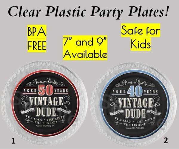 "Vintage Dude Birthday Plastic Party Plates, 7"" Dessert Plates, 9"" Dinner Plates, Set of 6"