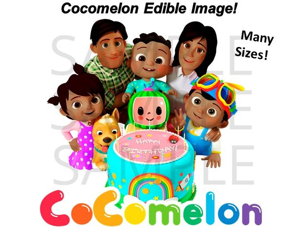 Dark Skin Cocomelon Family Edible Cake Topper Image Cupcakes