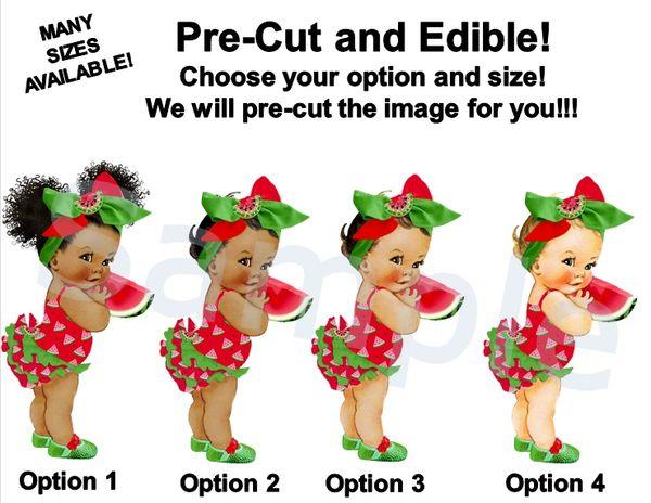 Watermelon Theme Baby Girl EDIBLE Cake Cupcake Topper Image, Red Green Big Head Bow