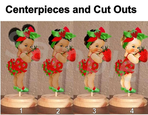 Strawberry Theme Babies of Color Centerpieces with Stand OR Cut Outs, Red Green Big Head Bow