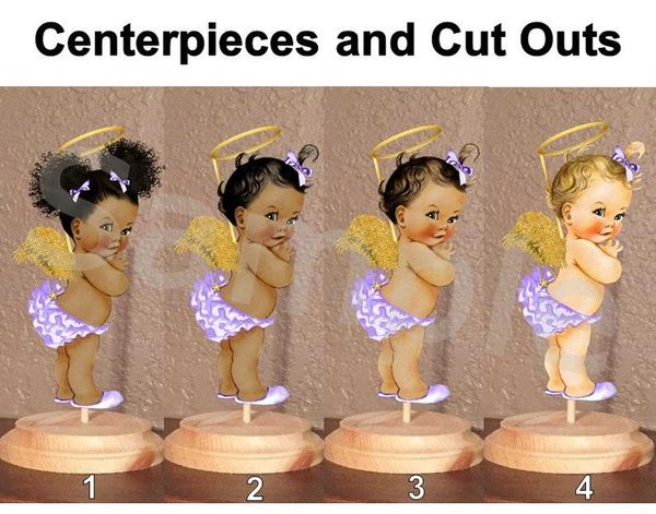 Heaven Sent Angel Babies of Color Centerpiece with Wood Stand OR Cut Outs, Purple Gold Halo, Angel Baby Centerpieces