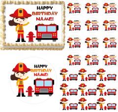 Firefighter GIRL Fire Truck Theme Edible Cake Topper Image Frosting Sheet