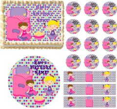 Slumber Party GIRL Sleep Over Theme Edible Cake Topper Image Frosting Sheet