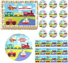 On the Go TRANSPORTATION Train Truck Edible Cake Topper Image Frosting Sheet