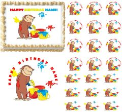 Curious George with Paints Edible Cake Topper Image Frosting Sheet