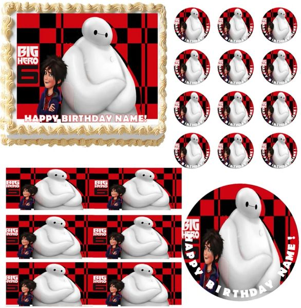 BIG HERO 6 Hiro Baymax Edible Cake Topper Image Frosting Sheet