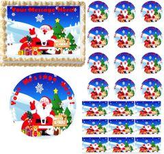 CHRISTMAS SANTA Merry Christmas Santa Edible Cake Topper Image Frosting Sheet
