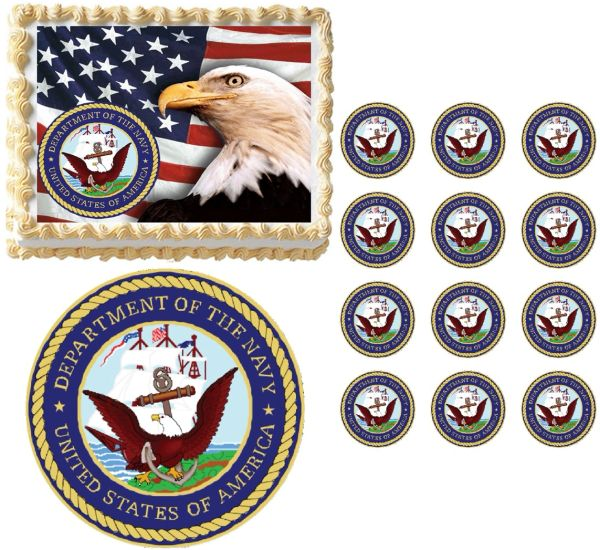 United States NAVY Seal Military Edible Cake Topper Image Frosting Sheet