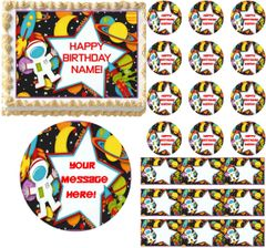 OUTER SPACE PLANETS Spaceman Space Party Edible Cake Topper Image Frosting Sheet