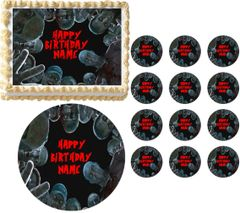 Real Life ZOMBIES Looking Down Edible Cake Topper Image Frosting Sheet