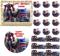 Transformers OPTIMUS PRIME Optimus Truck Edible Cake Topper Image Frosting Sheet