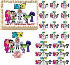 TEEN TITANS GO Theme Edible Cake Topper Image Frosting Sheet Cake Decoration