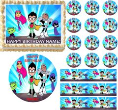 TEEN TITANS GO Characters Edible Cake Topper Image Frosting Sheet Cake Decoration