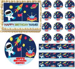 OUTER SPACE SHIP SPACEMAN Astronaut Edible Cake Topper Image Frosting Sheet