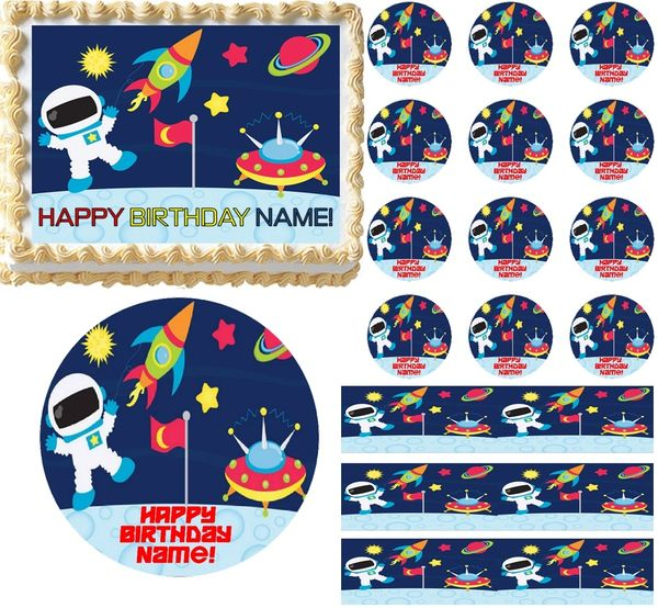 Space Shuttle Edible Party Cake Image Topper Frosting Icing Sheet