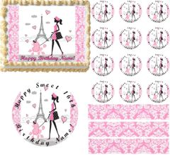 Pink and White PARIS Damask LADY POODLE Eiffel Tower Edible Cake Topper Image Frosting Sheet