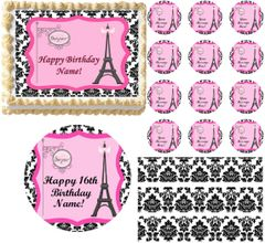 Black and White PARIS Damask Eiffel Tower Bonjour Edible Cake Topper Image Frosting Sheet