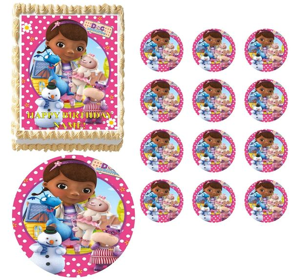 DOC McSTUFFINS Flowers Image Edible Cake Topper Image Frosting Sheet