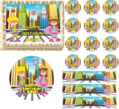 Cute SUPERHERO GIRLS Super Hero Edible Cake Topper Image Frosting Sheet