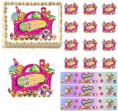 SHOPKINS Characters in a Basket Edible Cake Topper Image Frosting Sheet Cake Decoration