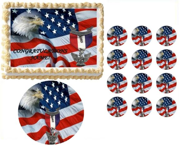 Eagle Scout Court of Honor Ceremony Flag with Ribbon Edible Cake Topper Image Frosting Sheet
