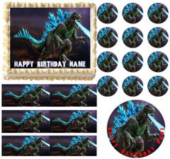 Godzilla Monster Breathing Fire Edible Cake Topper Image Frosting Sheet