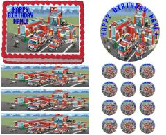 Lego FIRE CITY Fire Truck Fire Station Edible Cake Topper Image Frosting Sheet