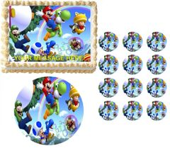 Super Mario Luigi Yoshi Edible Cake Topper Image Frosting Sheet