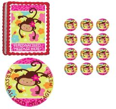 MOD Monkey Love First Birthday Baby Shower Edible Cake Topper Image Frosting Sheet