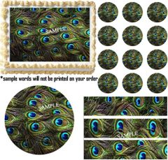 PEACOCK FEATHERS Print Peacock Wedding Edible Cake Topper Image Frosting Sheet