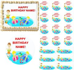 KIDS POOL PARTY Summer Fun Edible Cake Topper Image Frosting Sheet