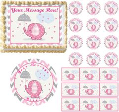 Adorable Chevron PINK ELEPHANT HEARTS Baby Shower Edible Cake Topper Image Frosting Sheet