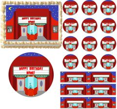 Retro MOVIE THEATER Movie Night Edible Cake Topper Image Frosting Sheet