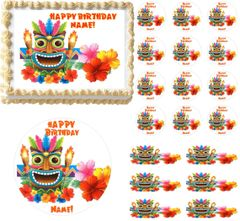 Tribal Hawaiian Tiki Edible Cake Topper Image Frosting Sheet Cake Decoration