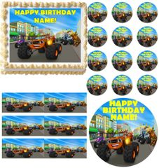 BLAZE and the MONSTER MACHINES Racing Edible Cake Topper Image Frosting Sheet