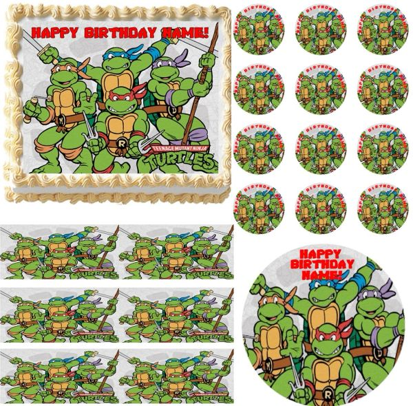 TEENAGE MUTANT NINJA TURTLES with Swords TMNT Edible Cake Topper Image Frosting Sheet