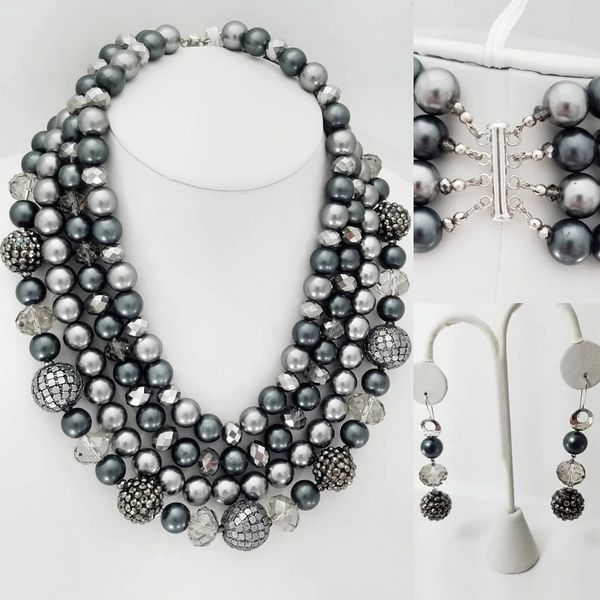 Elegant Handcrafted One Of A Kind Sterling Silver Four Strands Tiffany Style Four Strands Glass Pearl Crystal Beaded Necklace With Three Tiered Dropped Sterling Silver Beaded Earring Set Jewelry Elegant Artisan Jewelry Necklaces Earrings Bracelet