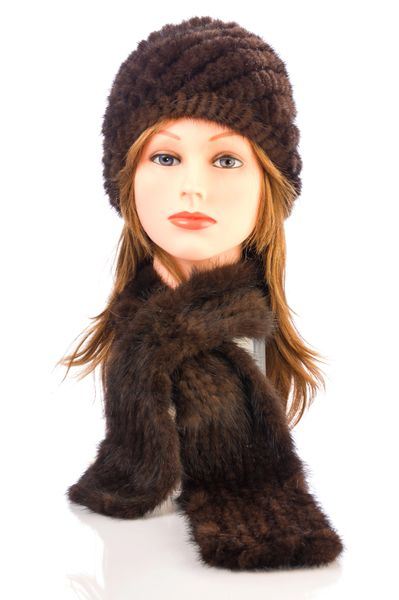 Mink Fur Scarf-Brown (AT51BRS)