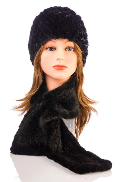Mink Fur Scarf-Black (AT51BKS)