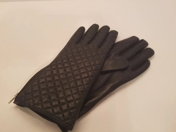 Black Leather Gloves with side fashion zipper (AT44BLZ)