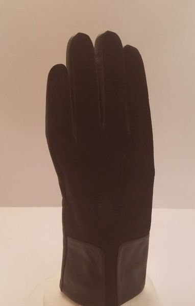 Black Gloves with Leather Cuffs (AT44BLC)