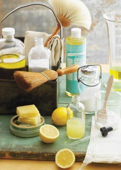 Get clean Go Green!!   Natural cleaning products. Castille olive oil soap, young living essential oils, Thieves, lemon, peppermint scrub, vinegar.