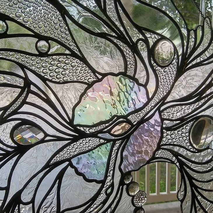 The Broken Princess, Abstract stained glass window panel, glass artist Gretchen Shutt