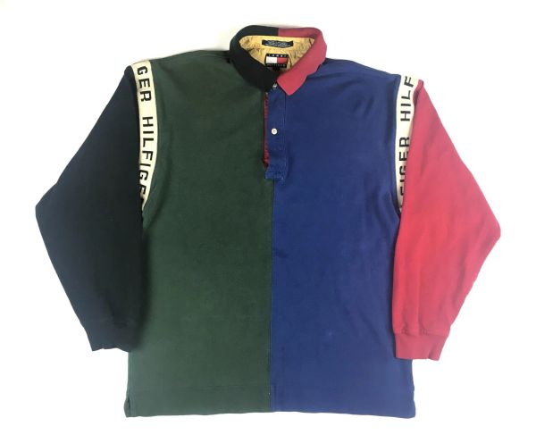 Vintage Tommy Hilfiger Colorblock Long Sleeve Polo