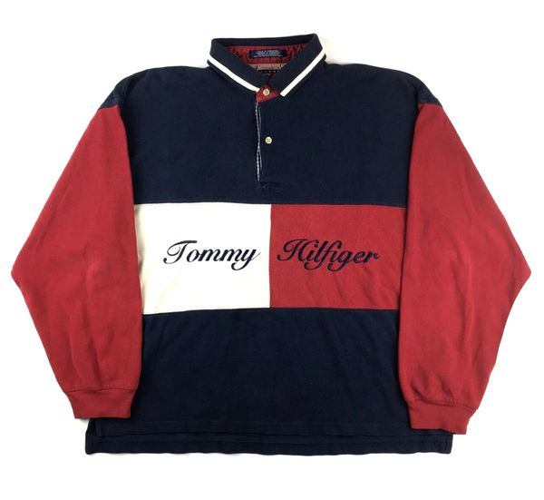 Vintage Tommy Hilfiger Big Flag Long Sleeve Polo