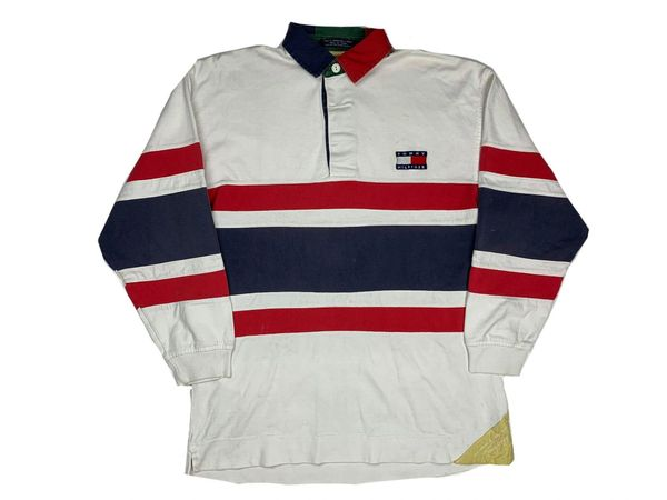 Vintage Tommy Hilfiger Striped Spellout Rugby
