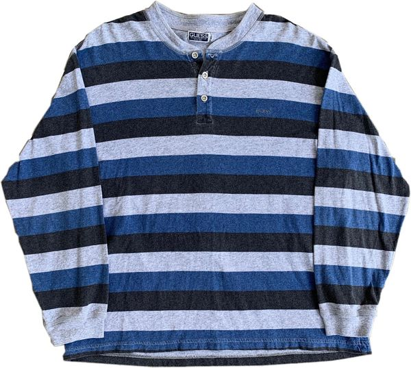 Vintage Guess Striped Henley Long Sleeve Tee