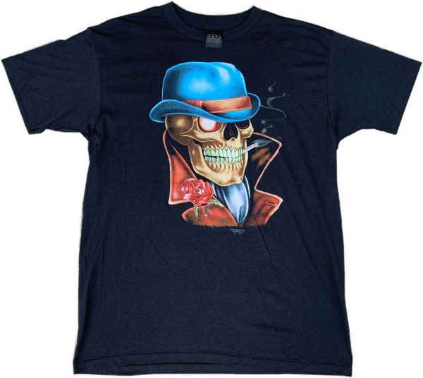 Vintage 1990 Skeleton Smoker 3D Emblem Tee