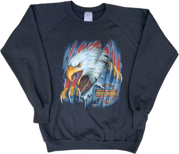 Vintage 1990 Harley Davidson Eagle 3D Emblem Crewneck Sweatshirt